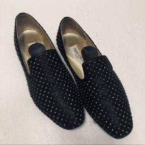 Jimmy Choo Studded Flats Slip On Loafers Black